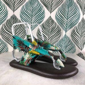 Sanuk Yoga Mat Sling Back Floral Sandal Size 9